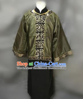 Chinese Ancient Qing Dynasty Nobility Childe Costumes Green Mandarin Jacket for Men