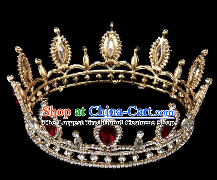 Top Grade Baroque Court Princess Red Crystal Royal Crown Wedding Bride Hair Accessories for Women