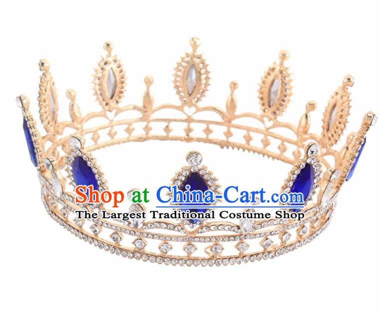 Top Grade Baroque Court Princess Blue Crystal Round Royal Crown Wedding Bride Hair Accessories for Women