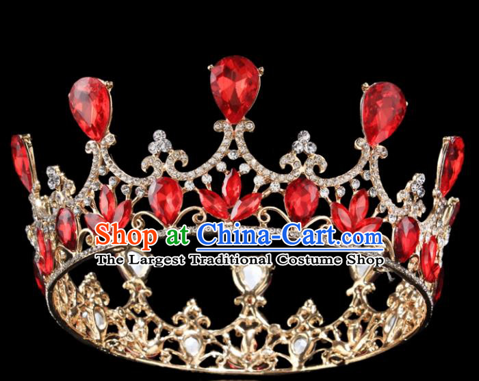 Top Grade Baroque Court Princess Red Crystal Round Royal Crown Wedding Bride Hair Accessories for Women