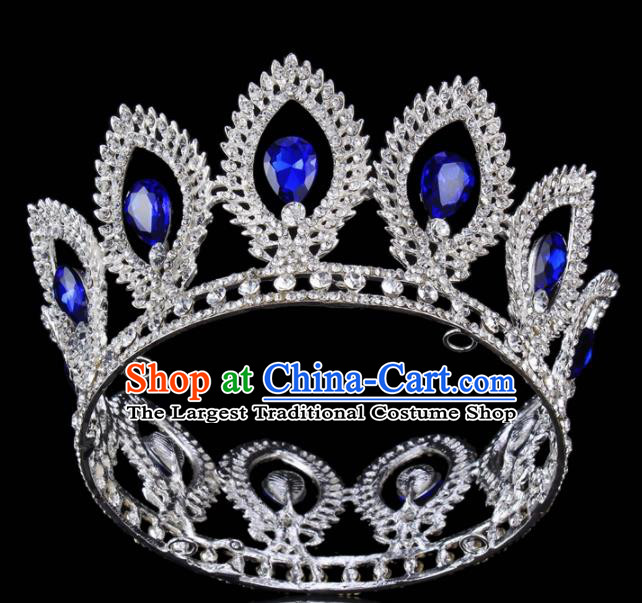 Top Grade Bride Wedding Hair Jewelry Accessories Baroque Blue Crystal Round Royal Crown for Women