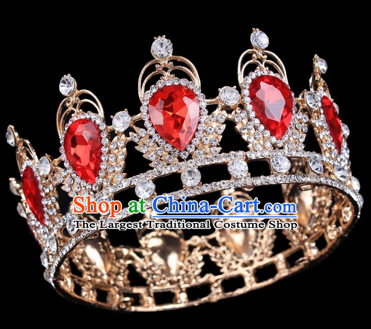 Handmade Bride Wedding Hair Jewelry Accessories Baroque Red Crystal Round Royal Crown for Women