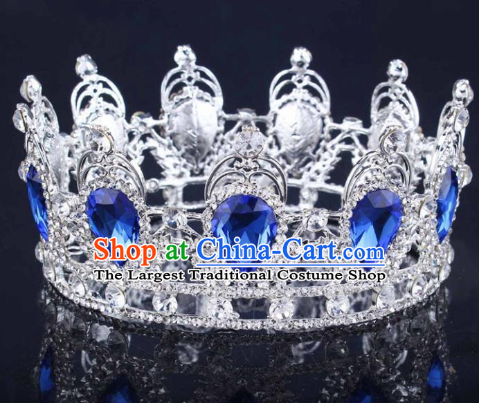 Handmade Bride Wedding Hair Jewelry Accessories Baroque Blue Crystal Round Royal Crown for Women