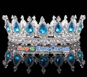 Handmade Bride Wedding Hair Jewelry Accessories Baroque Queen Blue Crystal Royal Crown for Women