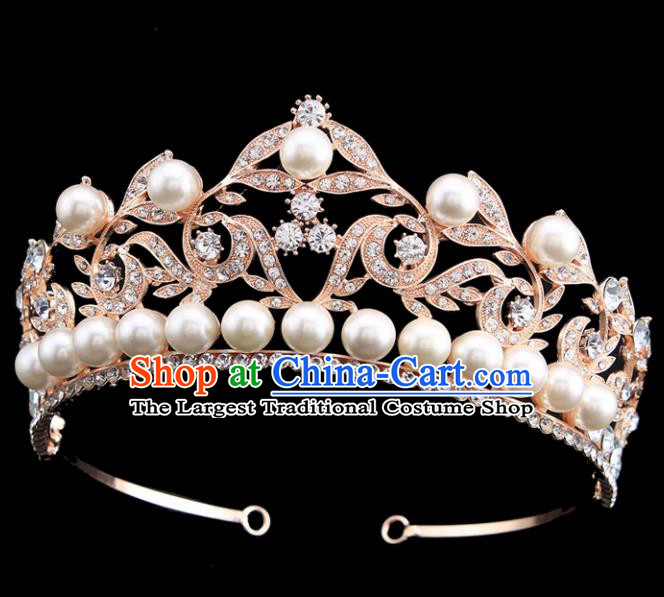 Handmade Bride Wedding Hair Jewelry Accessories Baroque Pearls Royal Crown for Women