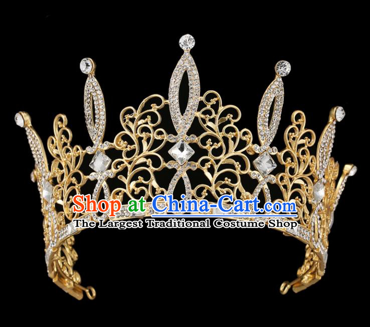 Handmade Bride Wedding Hair Jewelry Accessories Baroque Golden Crystal Royal Crown for Women