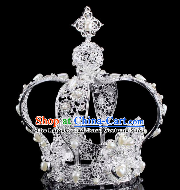 Handmade Bride Wedding Hair Jewelry Accessories Baroque Queen White Royal Crown for Women