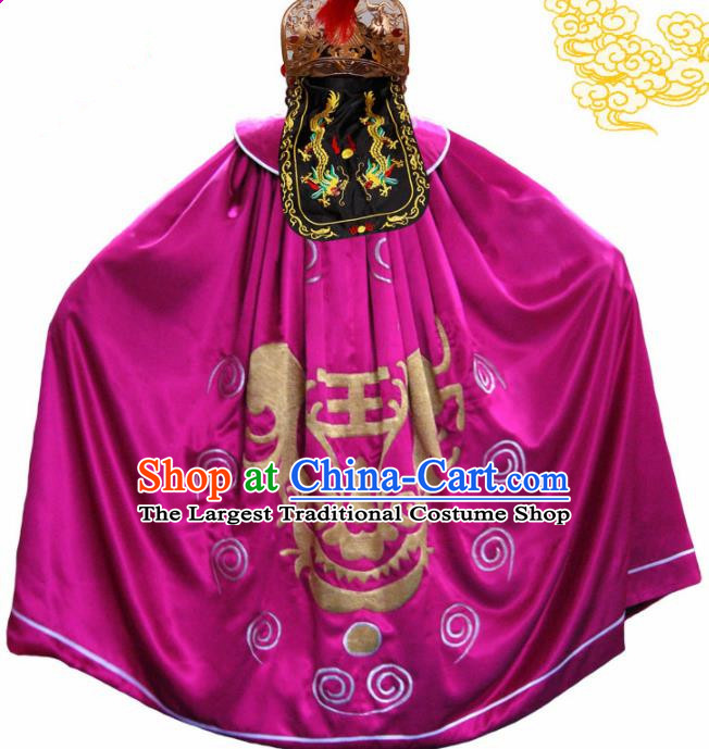Traditional Chinese Beijing Opera Costume Sichuan Opera Changing Faces Embroidered Rosy Cloak for Men