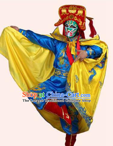 Chinese Traditional Beijing Opera Costumes Sichuan Opera Changing Faces Embroidered Yellow Cloak for Men