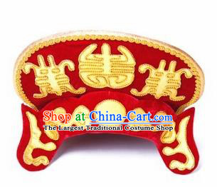Chinese Traditional Beijing Opera Red Hats Sichuan Opera Changing Faces Embroidered Helmet for Men