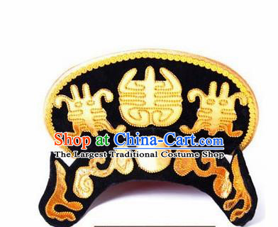 Chinese Traditional Beijing Opera Black Hats Sichuan Opera Changing Faces Embroidered Helmet for Men