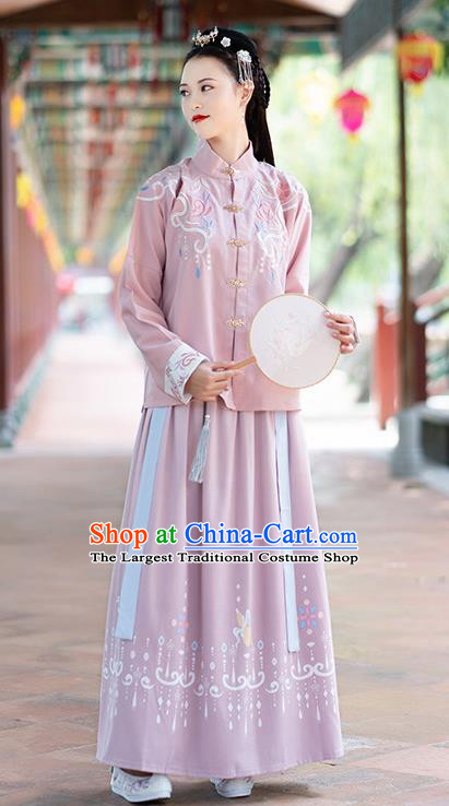 Chinese Ming Dynasty Nobility Lady Costumes Ancient Embroidered Blouse and Skirt for Women