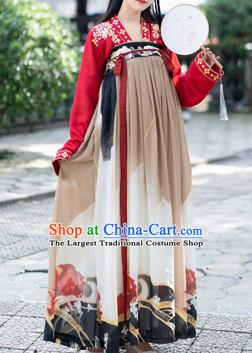 Chinese Tang Dynasty Princess Costumes Ancient Printing Hanfu Dress for Women
