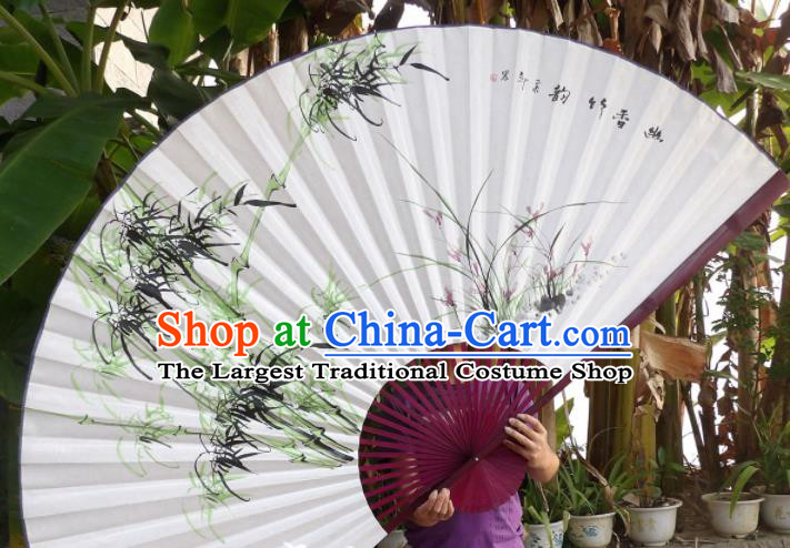 Chinese Traditional Paper Fans Decoration Crafts Painting Orchid Bamboo Red Frame Folding Fans