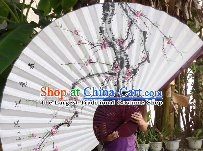 Chinese Traditional Paper Fans Decoration Crafts Ink Painting Plum Blossom Red Frame Folding Fans