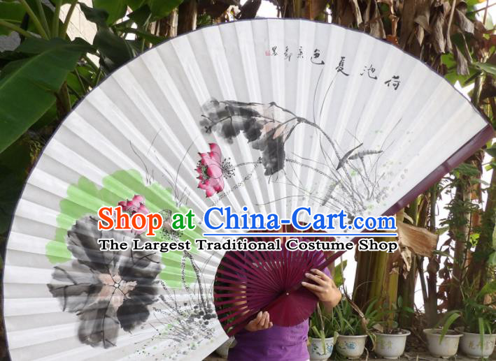 Chinese Traditional Paper Fans Decoration Crafts Ink Painting Lotus Red Frame Folding Fans