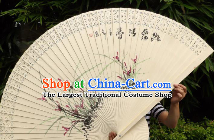 Chinese Traditional Wood Fans Decoration Crafts Handmade Printing Orchid Folding Fans