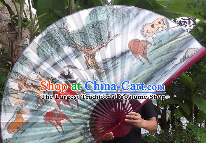 Chinese Traditional Crafts Red Frame Folding Fans Ink Painting Horses Paper Fans