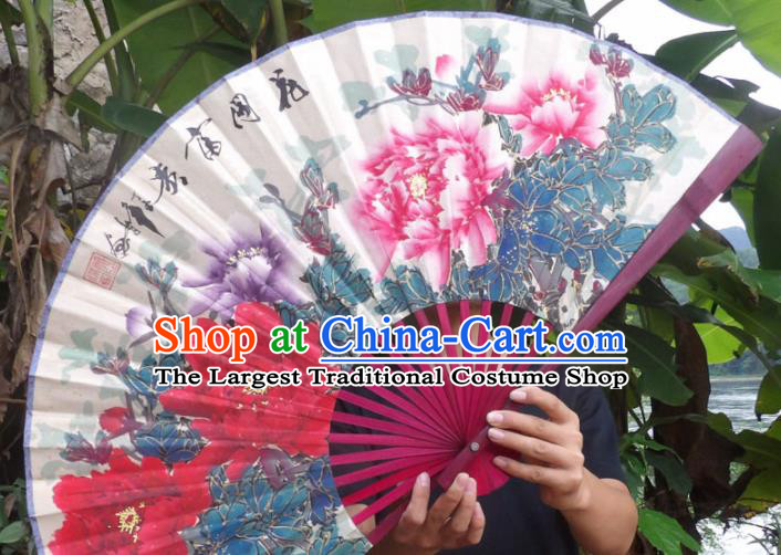 Chinese Traditional Decoration Crafts Red Frame Folding Fans Hand Painting Peony Flowers Paper Fans