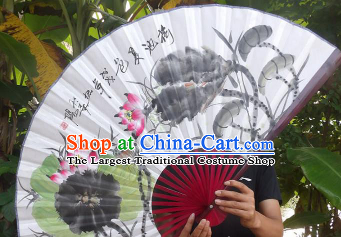 Chinese Traditional Fans Decoration Crafts Ink Painting Lotus Leaf Folding Fans Paper Fans