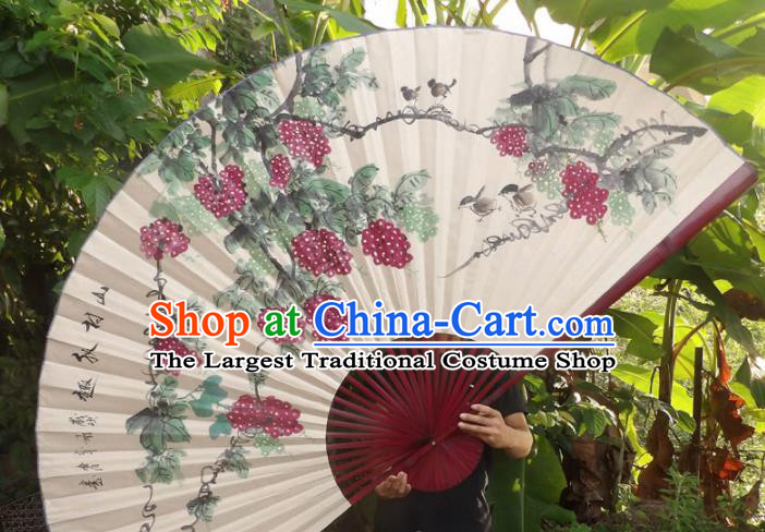 Chinese Traditional Fans Decoration Crafts Red Frame Ink Painting Grape Folding Fans Paper Fans