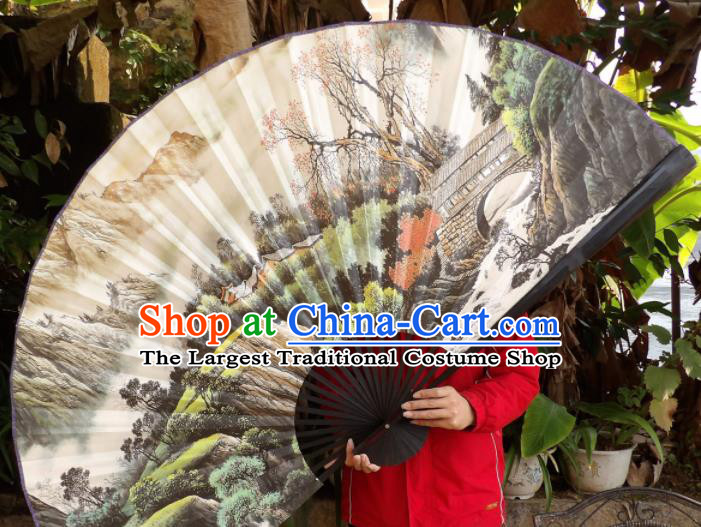 Chinese Traditional Fans Decoration Crafts Hand Ink Painting Black Frame Folding Fans Paper Fans