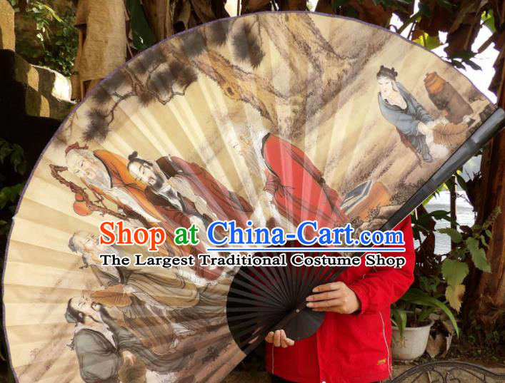 Chinese Traditional Fans Decoration Crafts Painting Wise Men Black Frame Folding Fans Paper Fans