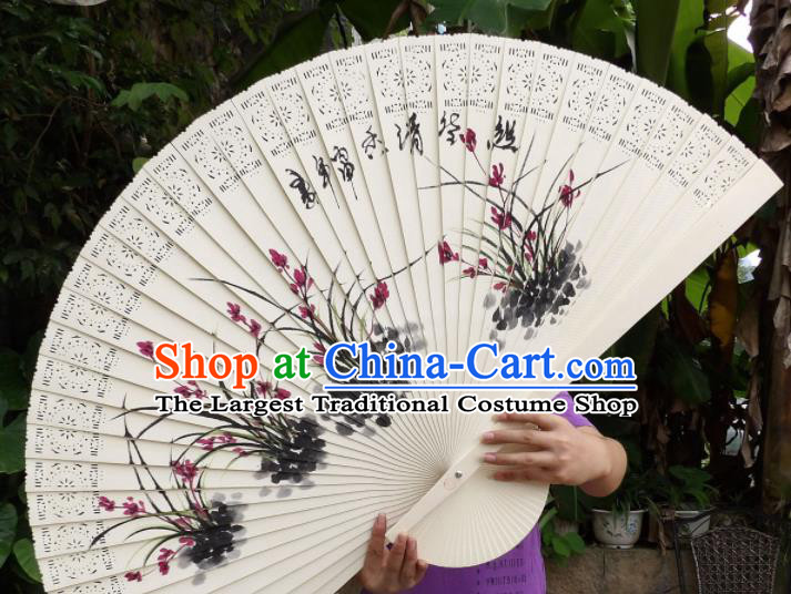 Chinese Traditional Fans Decoration Crafts Painting Orchids Folding Fans Wood Fans