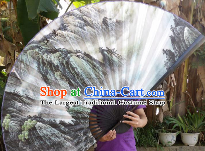 Chinese Traditional Paper Fans Decoration Crafts Landscape Painting Black Frame Folding Fans