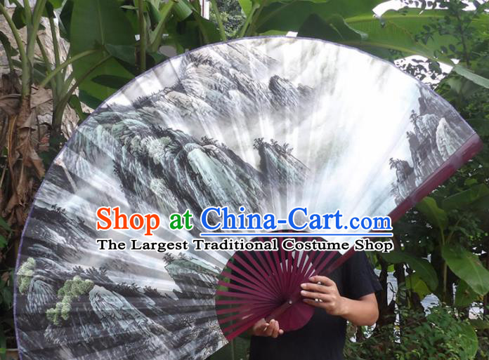 Chinese Traditional Paper Fans Decoration Crafts Landscape Painting Red Frame Folding Fans