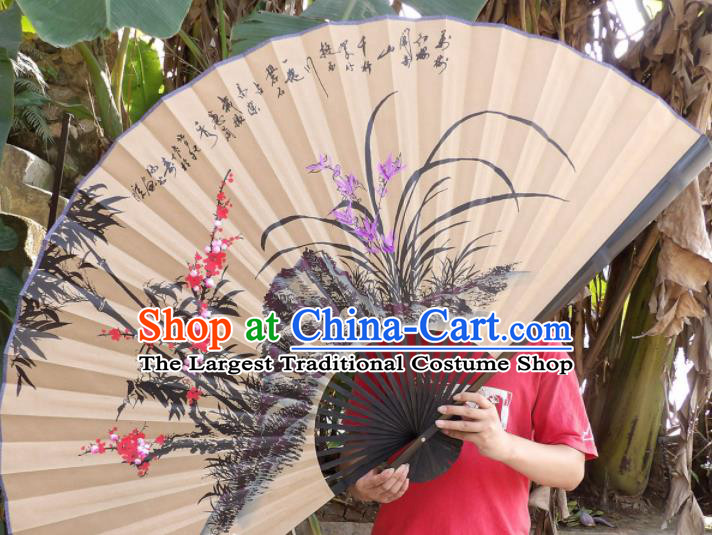 Chinese Traditional Handmade Paper Fans Decoration Crafts Ink Painting Plum Blossom Orchid Bamboo Black Frame Folding Fans