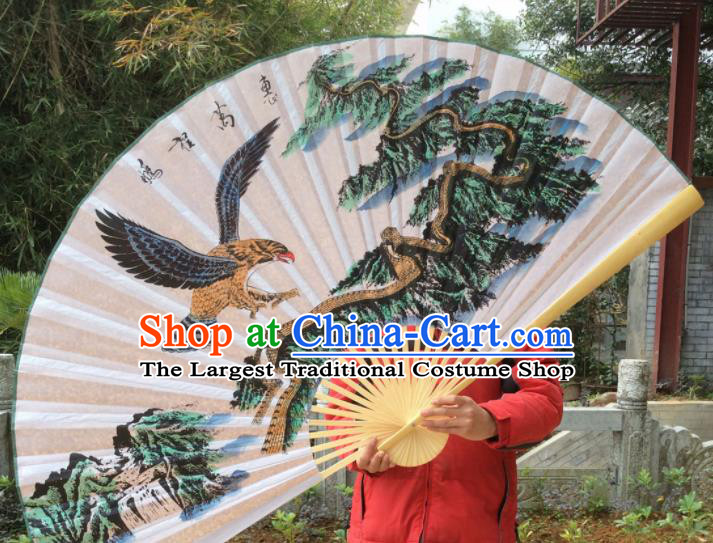 Chinese Traditional Handmade Silk Fans Decoration Crafts Ink Painting Eagle Folding Fans