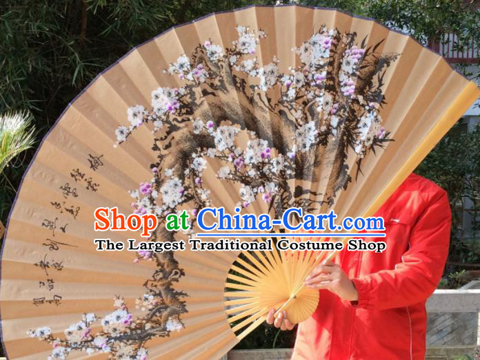 Chinese Traditional Handmade Paper Fans Decoration Crafts Ink Painting Plum Blossom Wood Frame Folding Fans