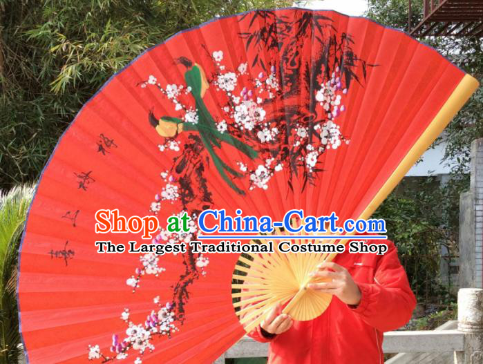 Chinese Traditional Handmade Red Silk Fans Decoration Crafts Painting Plum Blossom Wood Frame Folding Fans