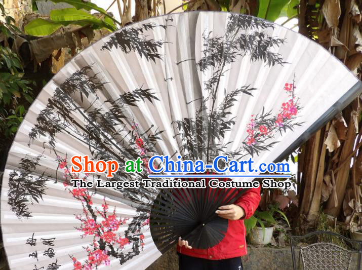 Chinese Traditional Handmade Silk Fans Decoration Crafts Ink Painting Plum Blossom Bamboo Black Frame Folding Fans