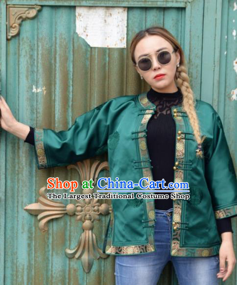 Chinese Traditional Mongol Ethnic Costume Mongolian Minority Nationality Green Brocade Blouse for Women