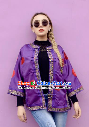Chinese Traditional Mongol Ethnic Costume Mongolian Minority Nationality Purple Brocade Blouse for Women