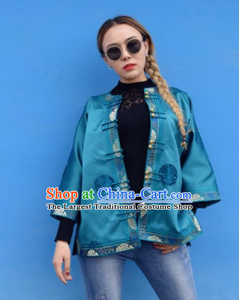 Chinese Traditional Mongol Ethnic Costume Mongolian Minority Nationality Blue Brocade Blouse for Women