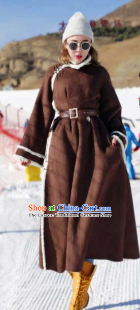 Chinese Traditional Mongol Ethnic Costume Mongolian Minority Nationality Brown LaLambswool Coat for Women