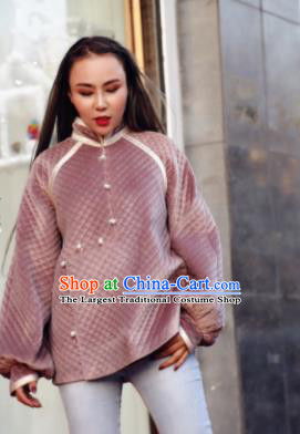 Chinese Traditional Mongol Ethnic Costume Mongolian Minority Nationality Pink Blouse for Women