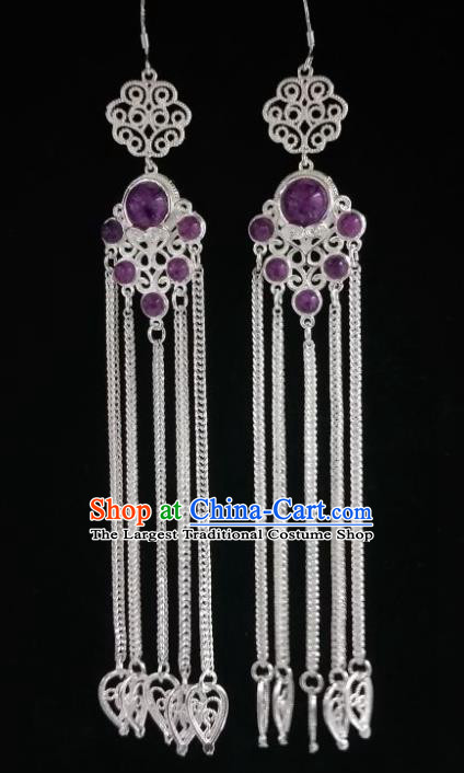Chinese Ethnic Jewelry Accessories Mongolian Minority Nationality Long Purple Earrings for Women