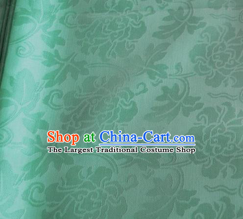 Asian Chinese Traditional Twine Peony Pattern Design Green Brocade Fabric Silk Fabric Chinese Fabric Material