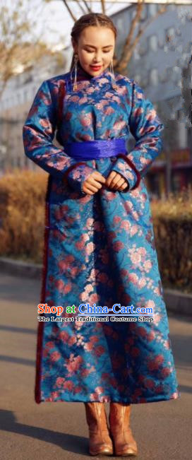 Chinese Traditional Mongol Ethnic Female Costume Mongolian Minority Nationality Royalblue Robe for Women