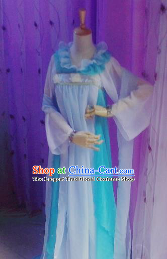 Traditional Chinese Cosplay Costumes Ancient Court Maid Embroidered Blue Hanfu Dress for Women