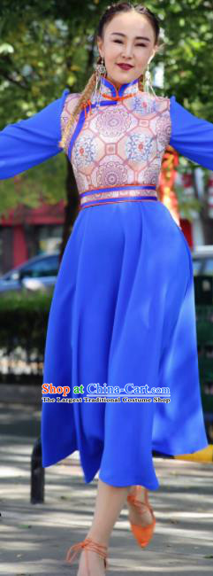Chinese Traditional Mongol Ethnic Female Costume Mongolian Minority Nationality Blue Dress for Women