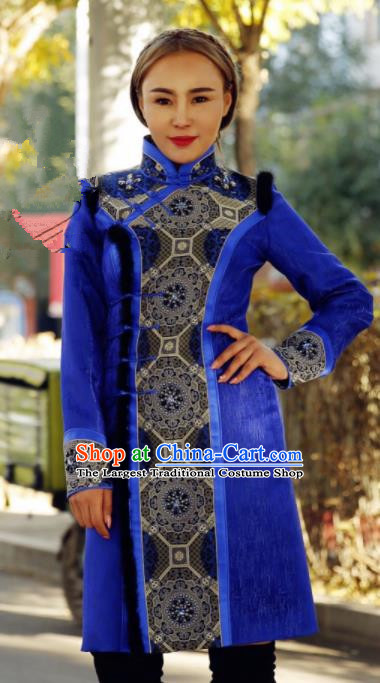 Chinese Traditional Mongol Ethnic Female Costume Mongolian Minority Nationality Royalblue Dress for Women