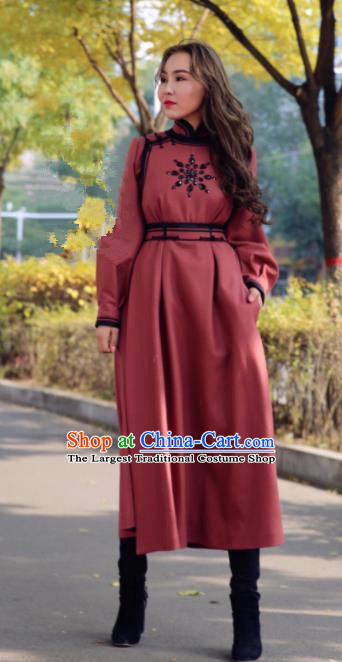 Chinese Traditional Mongol Minority Ethnic Costume Brownish Red Wool Mongolian Robe for Women