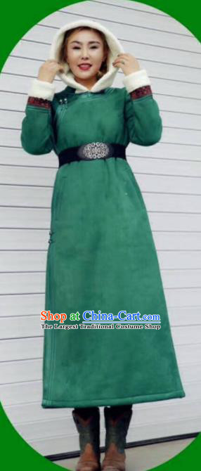 Chinese Traditional Mongol Minority Ethnic Costume Green Suede Fabric Mongolian Dust Coat for Women