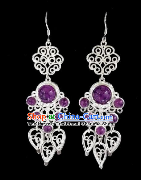Chinese Ethnic Jewelry Accessories Mongolian Minority Nationality Purple Beads Earrings for Women