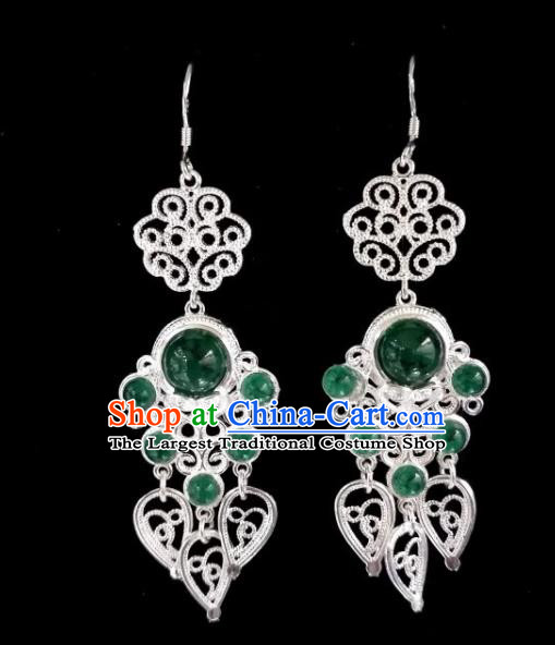 Chinese Ethnic Jewelry Accessories Mongolian Minority Nationality Green Beads Earrings for Women